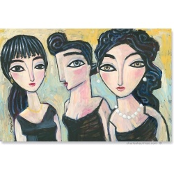 "Giclée Print on Canvas: ""Black Hair, Black Dresses"""