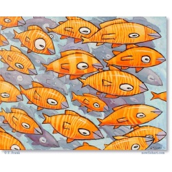 "Giclée-Drucke: ""A School of Yellow and Orange Fish"""