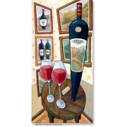 """Giclee Print: """"Cabernet Sauvignon & Two Glasses on a Table"""""""