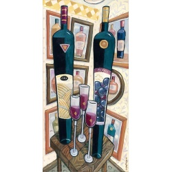 """Giclee Print: """"Italy and France - Two Red Wines"""""""