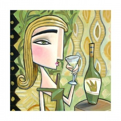 """Small 3D Graphic: """"Woman Drinking White Wine"""""""