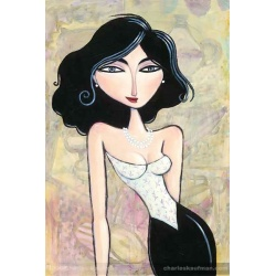 """Giclee Print on Canvas: """"Woman with a Pearl Necklace"""""""