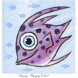 """Small 3D Graphic: """"Happy Purple Fish"""" by F. Frank"""