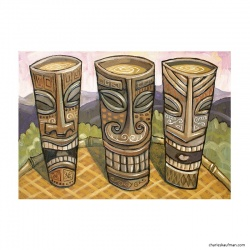 "Giclée-Print on Fine Art Paper: ""3 Tiki Mugs"""