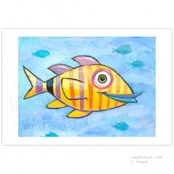 "Giclée-Print on Fine Art Paper: ""Happy Yellow Fish with Stripes"""
