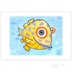 "Giclée-Print on Fine Art Paper: ""Yellow Fish with Purple Spots"""