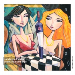 """Small 3D Graphic: """"Two Women and Wine"""""""