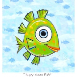 "Small 3D Graphic: ""Happy Green Fish"" by F. Frank"
