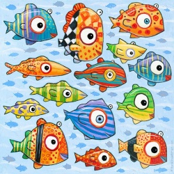 """Giclee Print: """"Happy Colorful Fish"""" by F. Frank"""