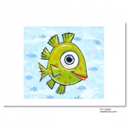 "Giclée-Print on Fine Art Paper: ""Happy Green Fish"""