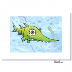 "Giclée-Print on Fine Art Paper: ""Happy Green Shark"""
