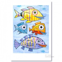 "Giclée-Print on Fine Art Paper: ""Four Colorful Fish"""