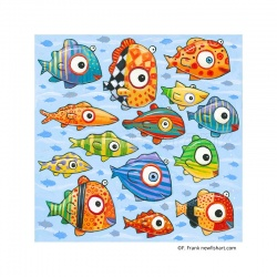 "Large Square 3D: ""Happy Colorful Fish"""