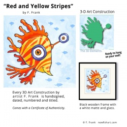 """Small 3D Graphic: """"Red & Yellow Stripes"""" by F. Frank"""