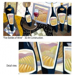 """Tall 3D Graphic: """"Five Bottles of Wine"""""""