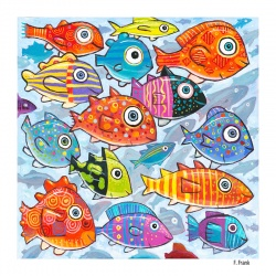 """Giclee Print on Canvas: """"Colorful Fish in the South South Sea"""" by F. Frank"""