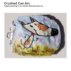 "Crushed Can Art: ""Happy Running Dog"""