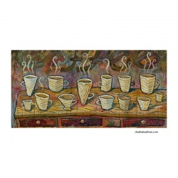 "Giclee Print: ""Coffee Cups on a Table"""