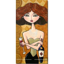 "Giclee Print: ""A Glass and a Bottle of Red Wine"""
